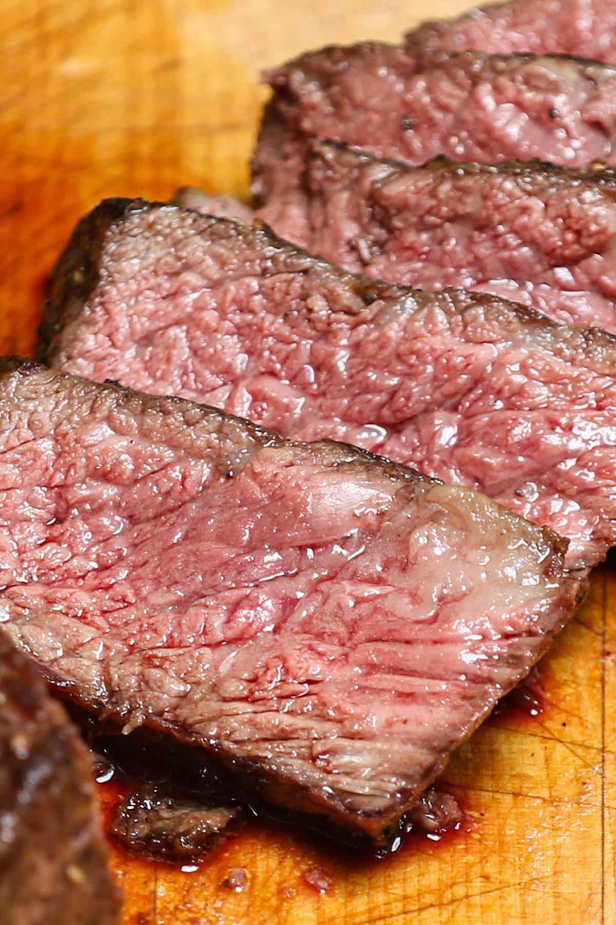 Slices of Denver steak cooked medium