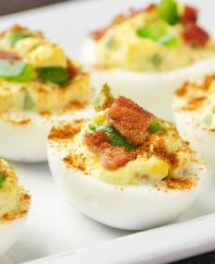These Deviled Eggs with Bacon are the perfect appetizer for parties and holidays, featuring a smooth and creamy filling with crispy bacon on top. So good!
