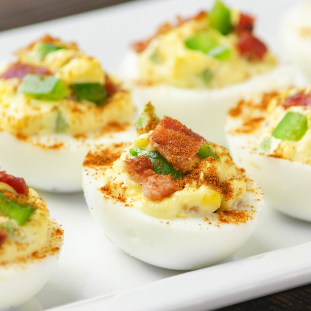 Deviled Eggs with Bacon on a platter ready to be served for a party appetizer