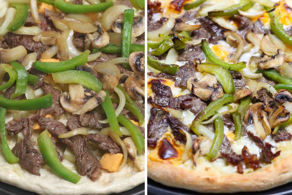 Homemade Domino's Steak and Cheese Pizza before and after baking