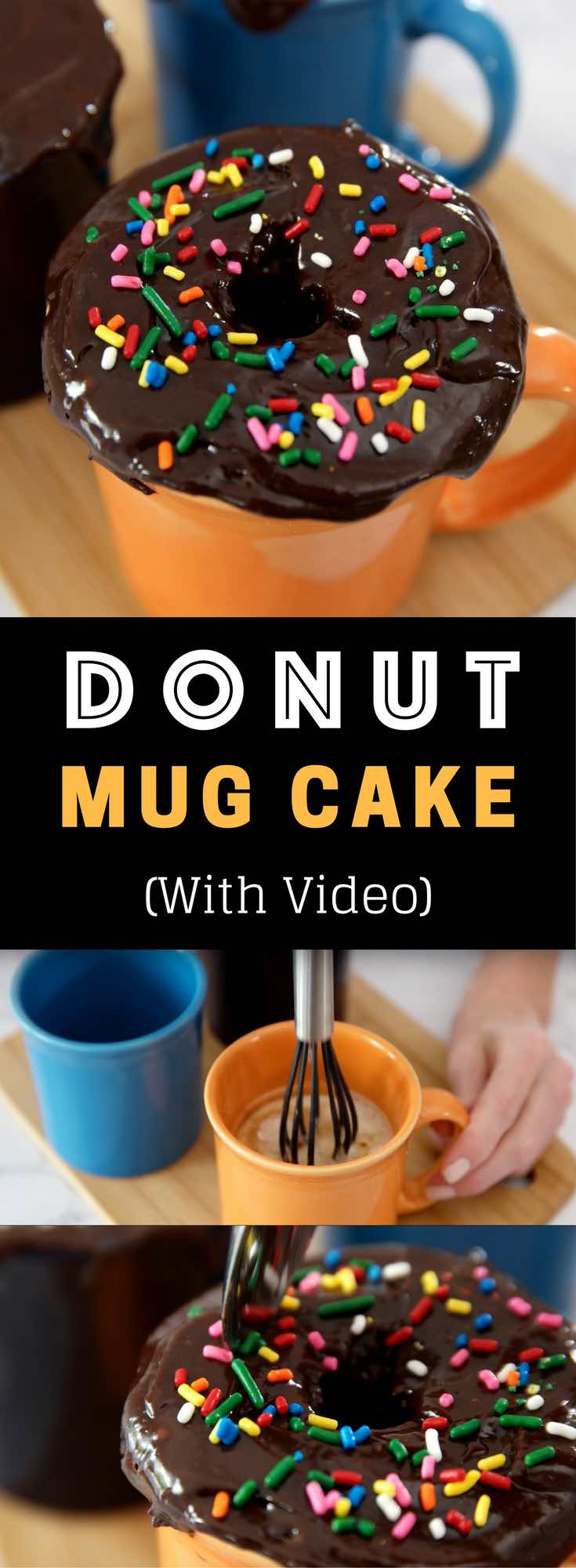 5 Minute Donut Mug Cake – A creamy, fluffy, delicious cake cooks in a mug in the microwave, ready in 5 minutes. It only requires a few simple ingredients: flour, sugar, baking powder, oil, milk, vanilla, chocolate chips, cream and nutmeg. Donut shape gives it extra fun. So good and easy to make for the perfect dessert or snack. No bake. Vegetarian. Video recipe. | tipbuzz.com