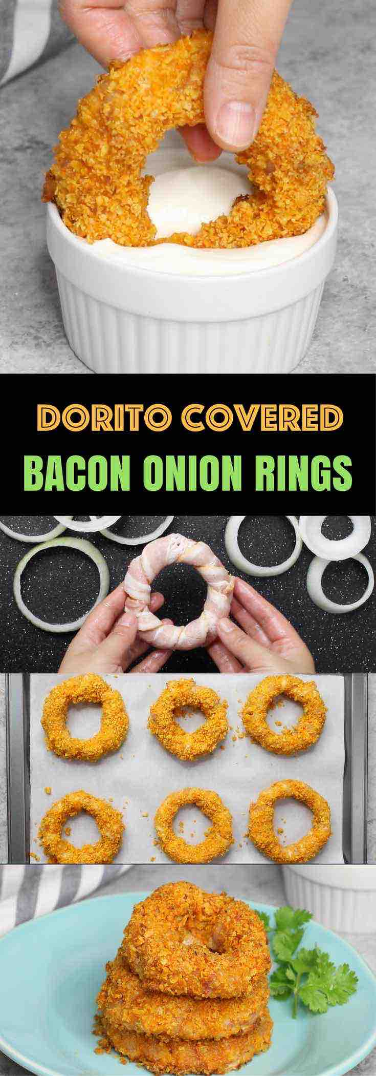 Bacon Onion Rings with a Doritos Crust - crispy on the outside with delicious smokey flavors! Perfect as a party appetizer for Game Day and holidays.