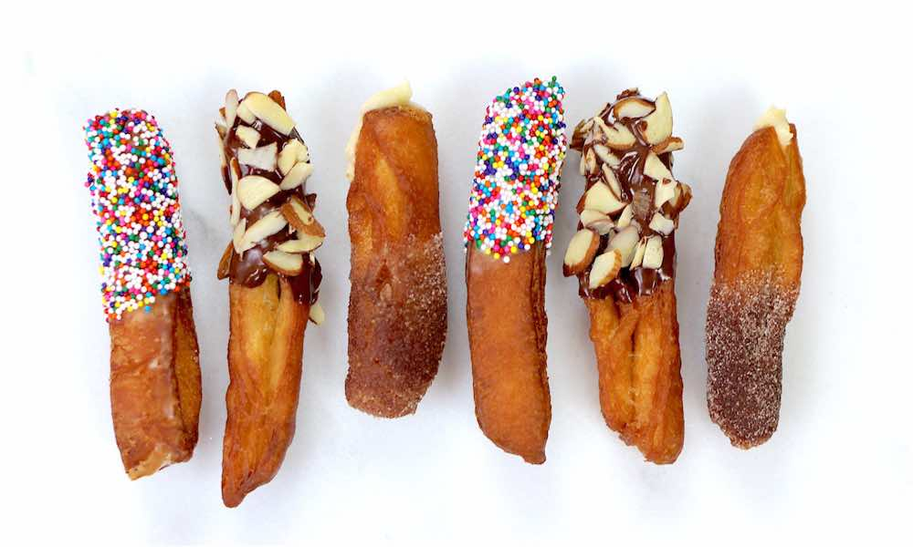 This Doughnut Fries recipe dips donuts into 3 different toppings