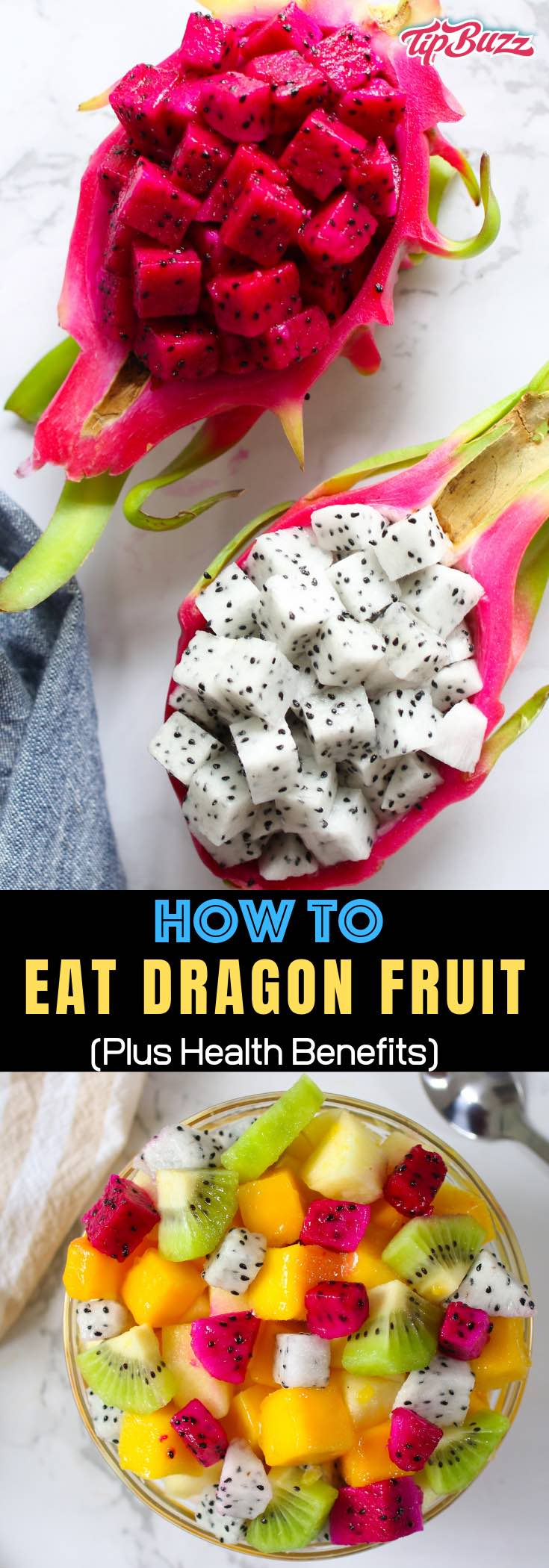 Learn how to cut dragon fruit quickly and easily with this step-by-step guide. The sweet flesh is delicious and packed full of nutrients. You can eat dragon fruit on its own as a simple and refreshing snack or add it to fruit salads, smoothies, desserts and more!