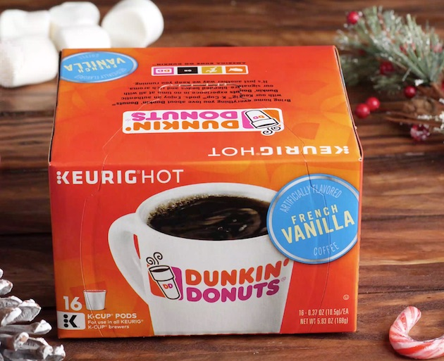 Dunkin' Donuts French Vanilla K-cups coffee was used to make Snowman Mocha Lattes in minutes