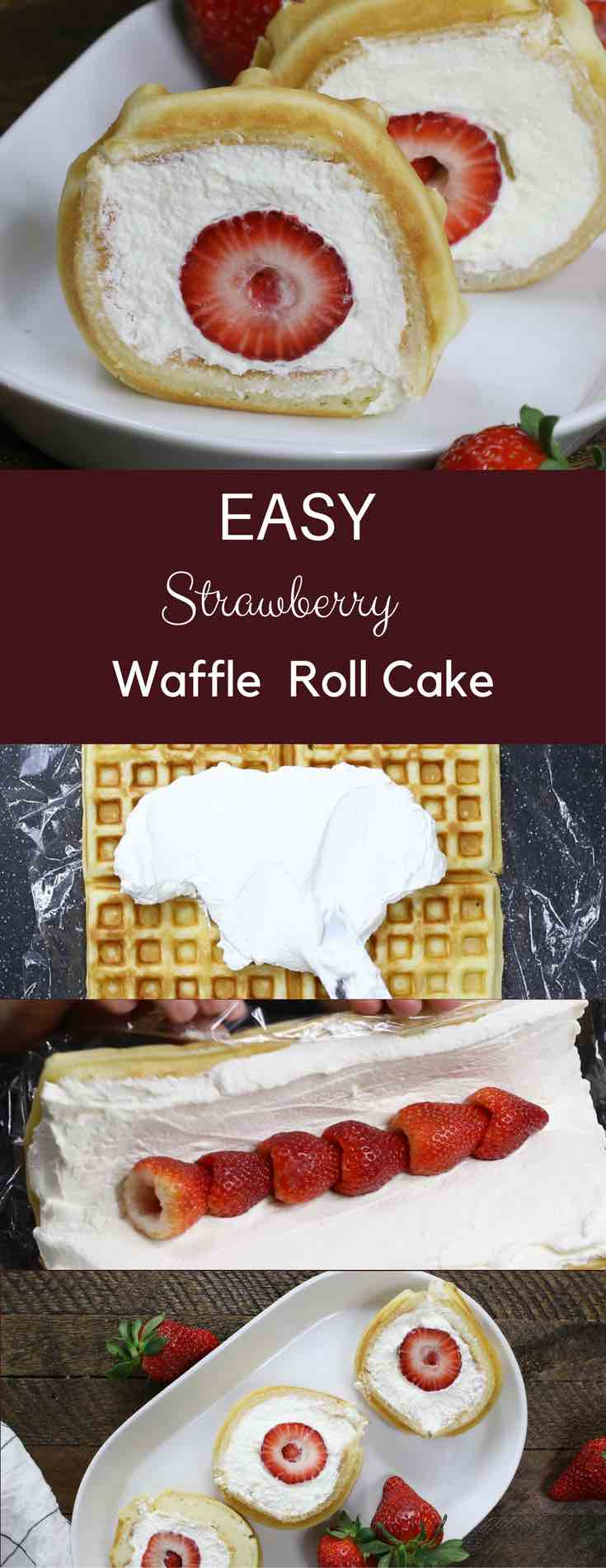 Strawberry Waffle Cake Roll - a quick and easy breakfast, snack or dessert made with waffle mix or frozen waffle, fresh strawberries, and whipped cream. Soft waffle topped with whipped cream, and strawberries. It melts in your mouth! So good and so beautiful! No bake dessert, vegetarian! | tipbuzz.com