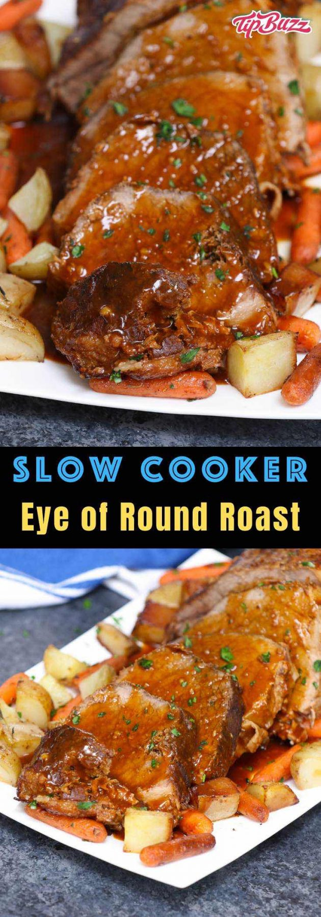 An Eye of Round Roast is a economical cut of beef that, with careful preparation, makes a delicious dinner. Learn how to cook eye of round successfully in the crock pot or oven. #EyeofRoundRoast #EyeOfRound
