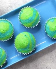 Earth Day Cupcakes with a blue and green swirl pattern