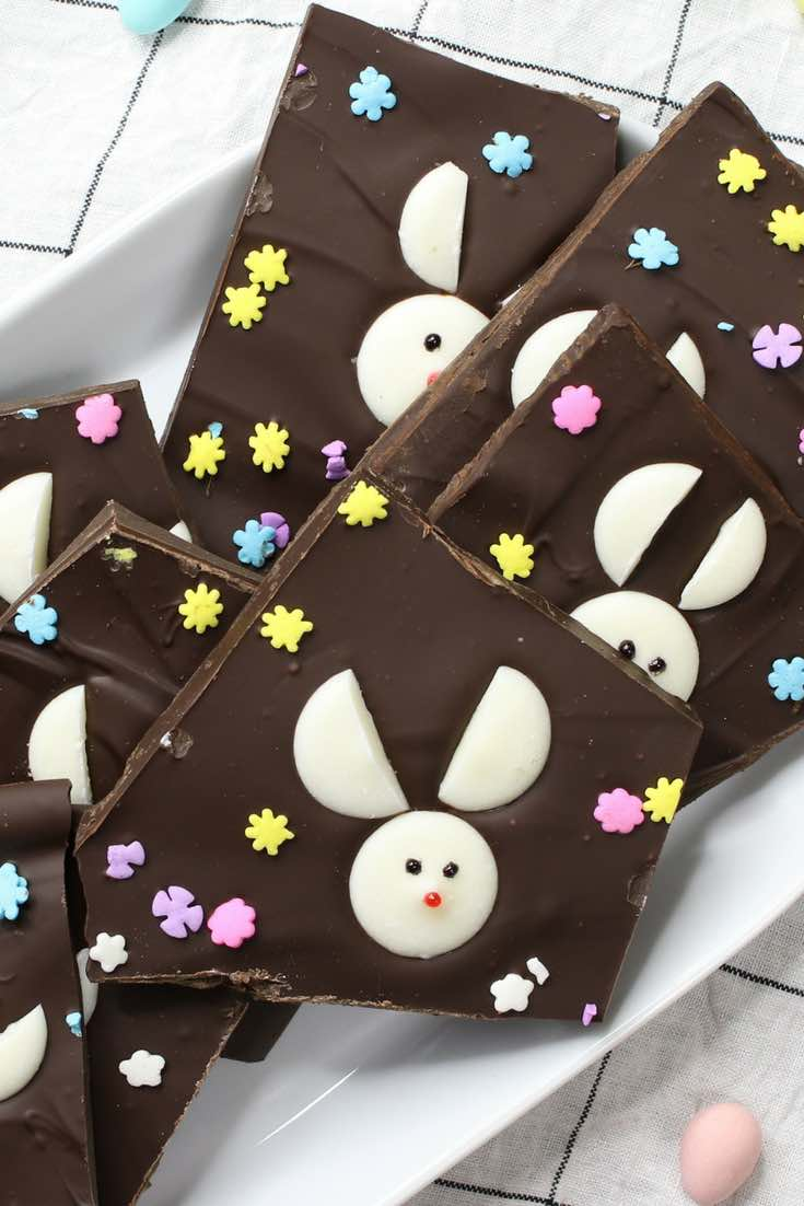 Easy bunny chocolate bark recipe with video tipbuzz easter bunny chocolate bark the best easter treat recipe that makes a great easter gift negle Images