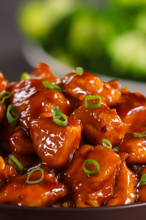 Chinese dish coated in a sticky sauce