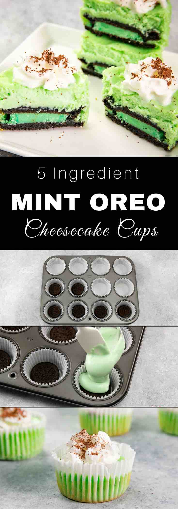 Mini Mint Oreo Cheesecake Cupcakes – Absolutely delicious and super easy to make with only 5 ingredients: mint Oreos, cream cheese, sugar, eggs and crème de menthe. Mint Oreo crust topped with a smooth and creamy cheesecake filling. The perfect quick and easy spring dessert recipe that everyone will LOVE! Video recipe. | Tipbuzz.com