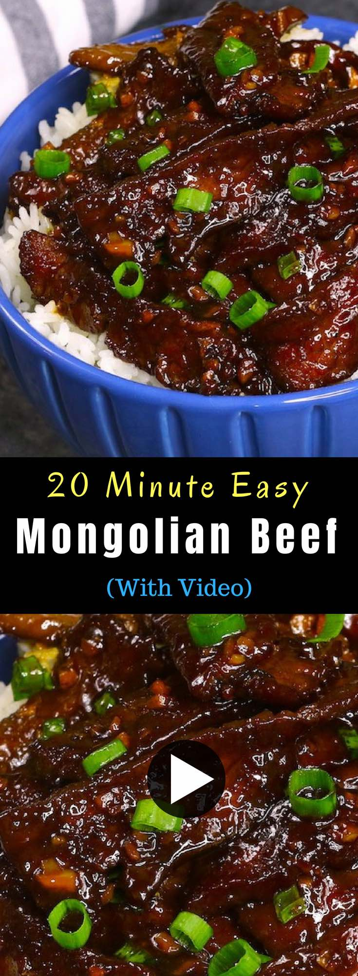 Tender and juicy beef smothered in an addictive sticky, slightly sweet and savory ginger garlic sauce. Mongolian Beef is a popular P.F Chang's menu item and crowd favorite Chinese dish that's ready in 20 minutes. #mongolianBeef #easyBeefRecipe
