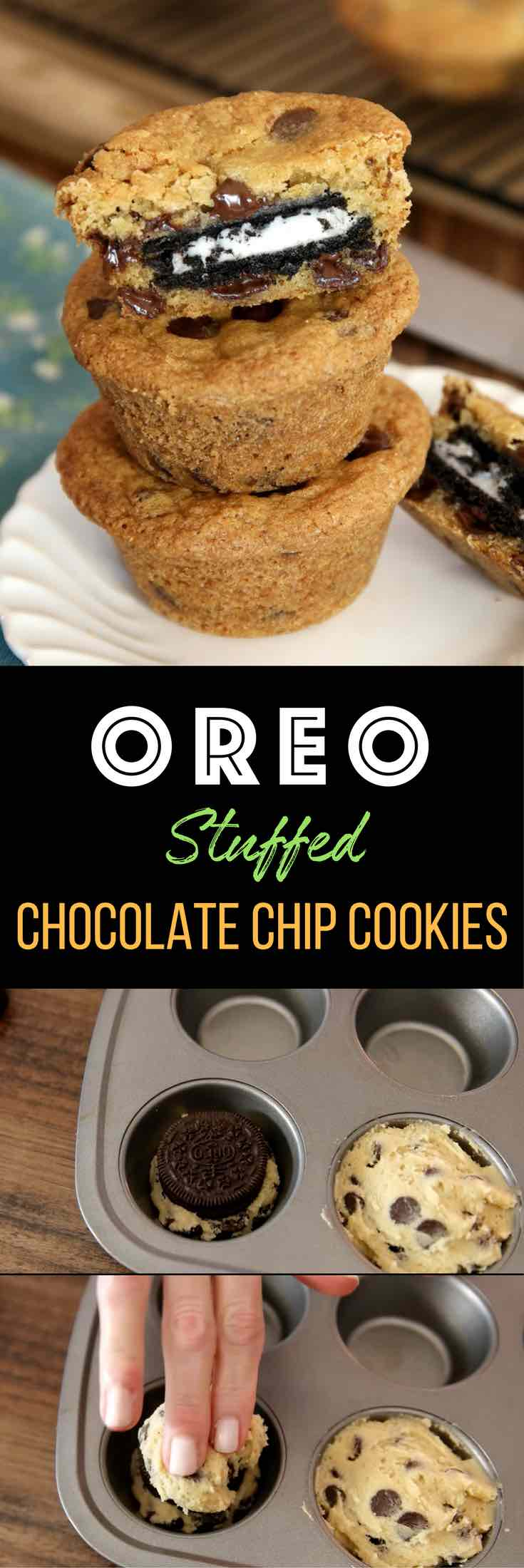 Oreo Stuffed Chocolate Chip Cookies – The BEST soft and chewy big chocolate chip cookies stuffed with Oreos! Quick and easy recipe that's so fun to make! All you need is your favorite chocolate chip cookie dough and Oreos! So simple and so delicious! It's great for snacks, parties, or dessert! Great for gifts too! Video recipe. | Tipbuzz.com