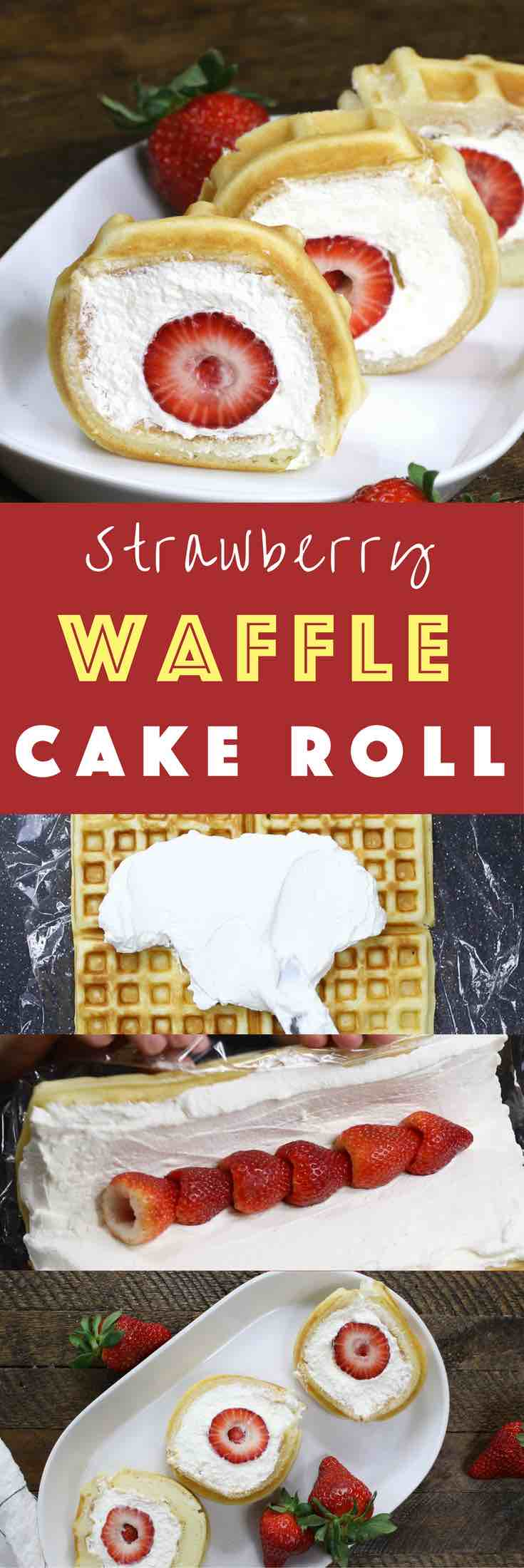 Strawberry Waffle Cake Roll - a quick and easy breakfast, snack or dessert made with waffle mix or frozen waffle, fresh strawberries, and whipped cream. Soft waffle topped with whipped cream, and strawberries. It melts in your mouth! So good and so beautiful! No bake dessert, vegetarian!   tipbuzz.com
