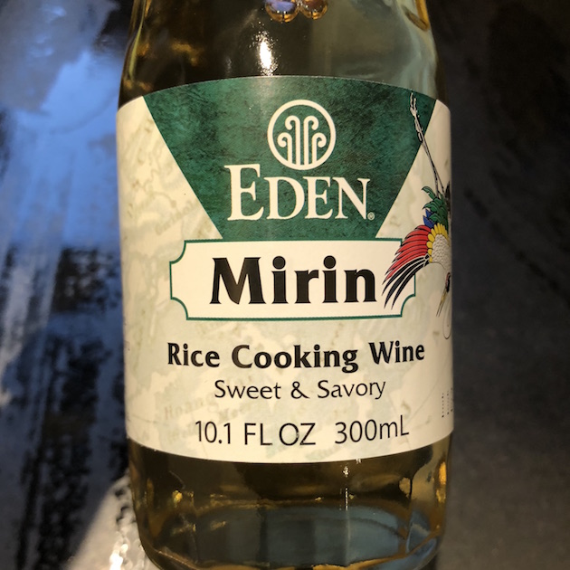This photo shows a bottle of Eden Mirin made with organic rice with no added sugar