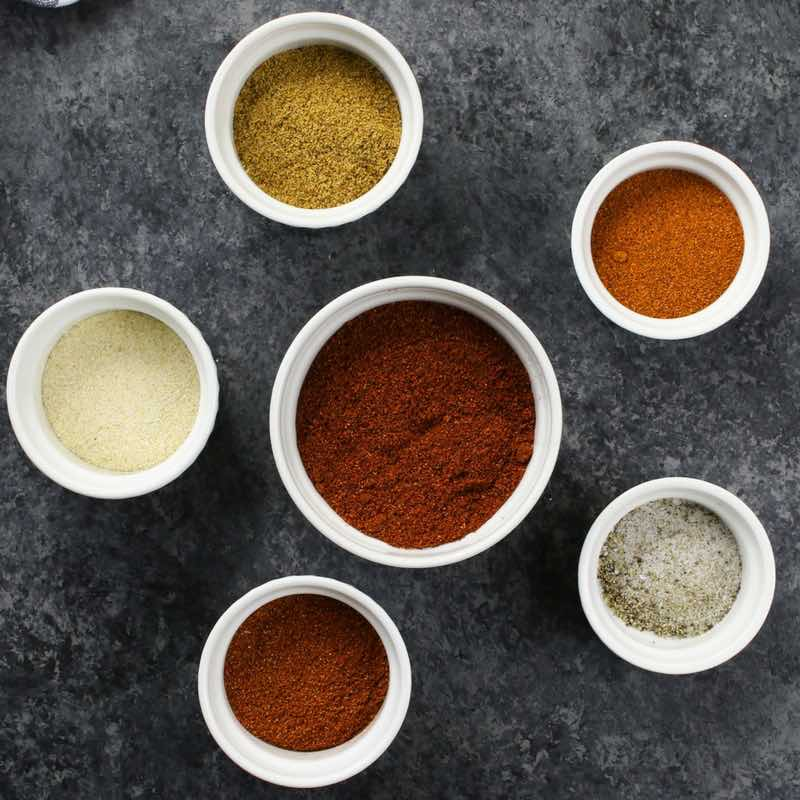 Fajita Seasoning ingredients in ramekins to show the proportions and colors