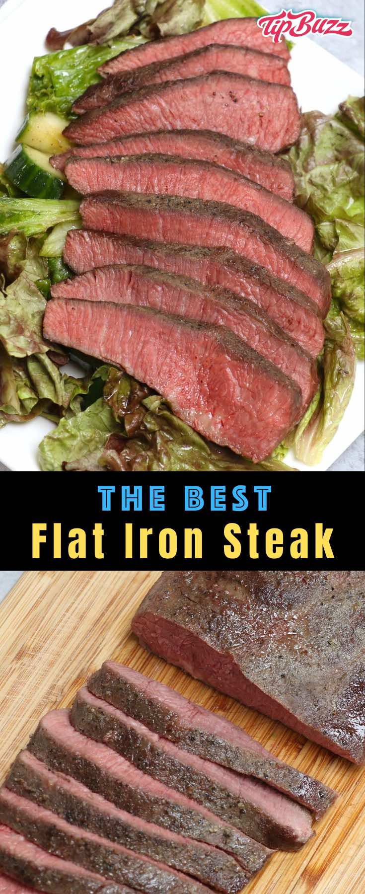 This flat iron steak is pan-seared to perfection with garlic and herbs to make a mouthwatering steak dinner that's affordable and easy to make in just 15 minutes! #flatironsteak #tipbuzz