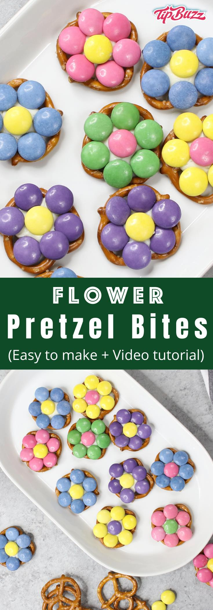 These Easter Pretzel Flower Bites are perfect treats and DIY gifts to celebrate the arrival of spring! All you need are some pretzels, candy melts and pastel M&Ms. These easy treats are ready in just 10 minutes! #flowerPretzelBites