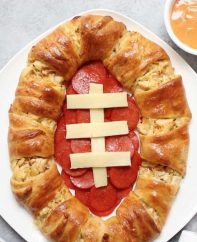 Chicken Crescent Ring with a football theme for Game Day