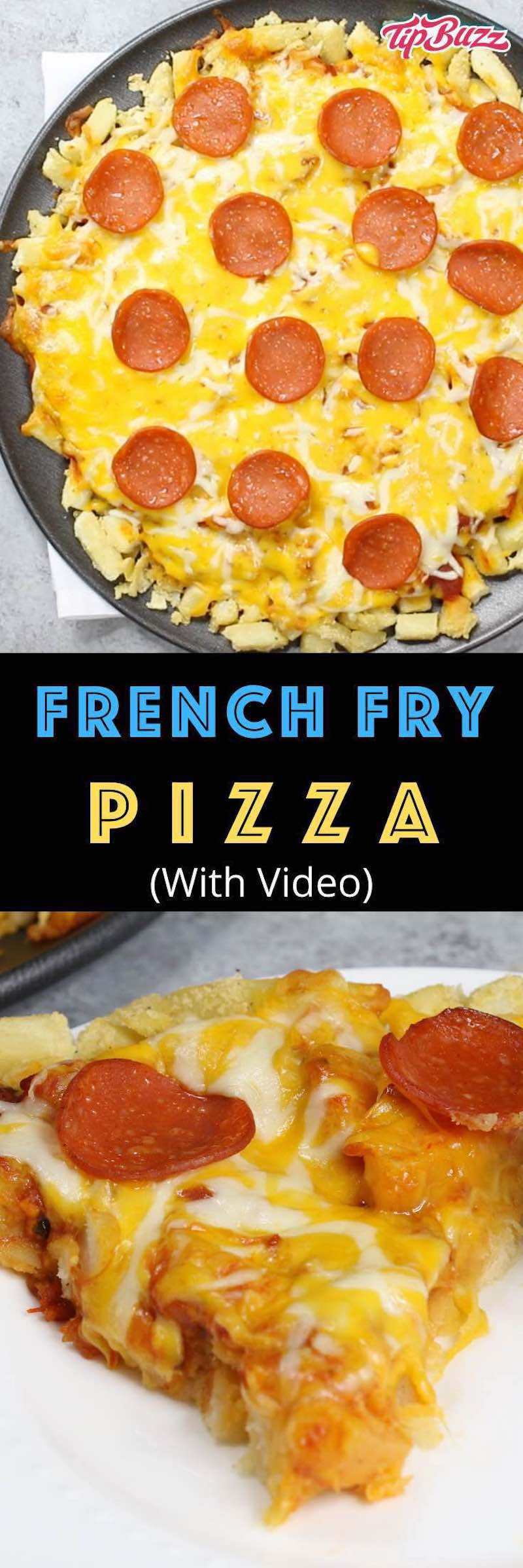 This French Fry Pizza is an epic recipe using frozen french fries to make a soft pizza crust. You only need 5 simple ingredients to make this for lunch, dinner or party. It's two favorites in one!