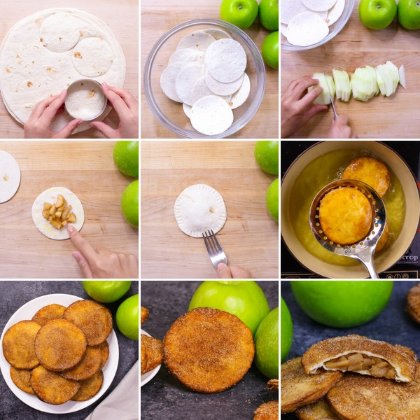 Infographic showing the key steps for making fried apple pies from scratch