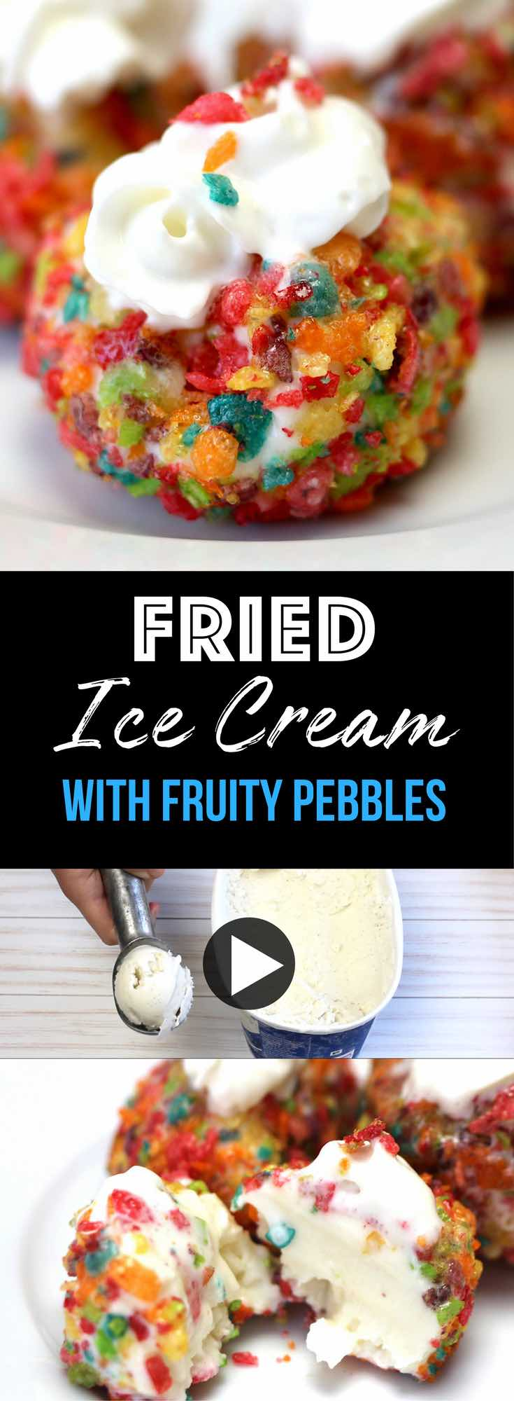 Fruity Pebbles Ice Cream is crispy on the outside and creamy in the middle. It's easy to make with just 3 ingredients!