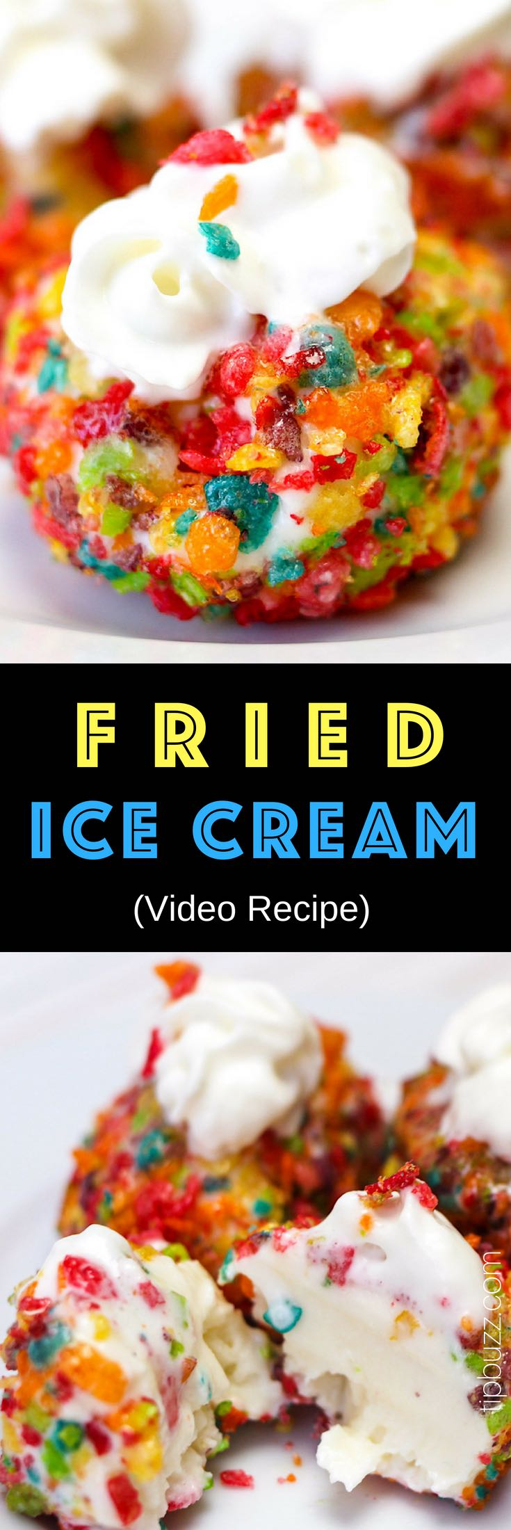 The most incredible Fried Ice Cream Dessert With Fruity Pebbles: Frozen and creamy ice cream is coved by hot, deep fried and crunchy fruity pebble cereal! Fun homemade deep fried ice cream that's super easy to make. Only 3 ingredients: your favorite ice cream, fruity pebble cereal and whipped cream! 3 Ingredient recipe. Desserts. Quick and easy recipe with video tutorial.