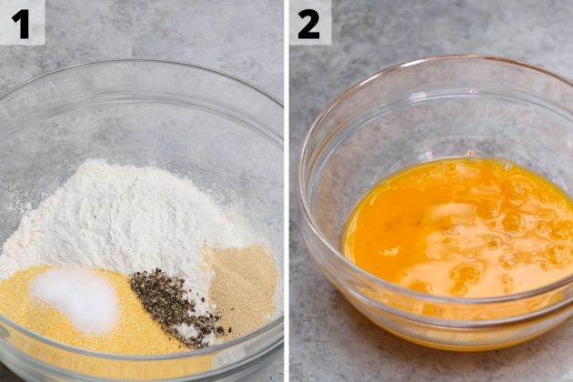 Flour cornmeal mixture in one bowl and egg wash in another