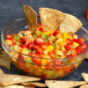 Fruit salsa in a serving bowl