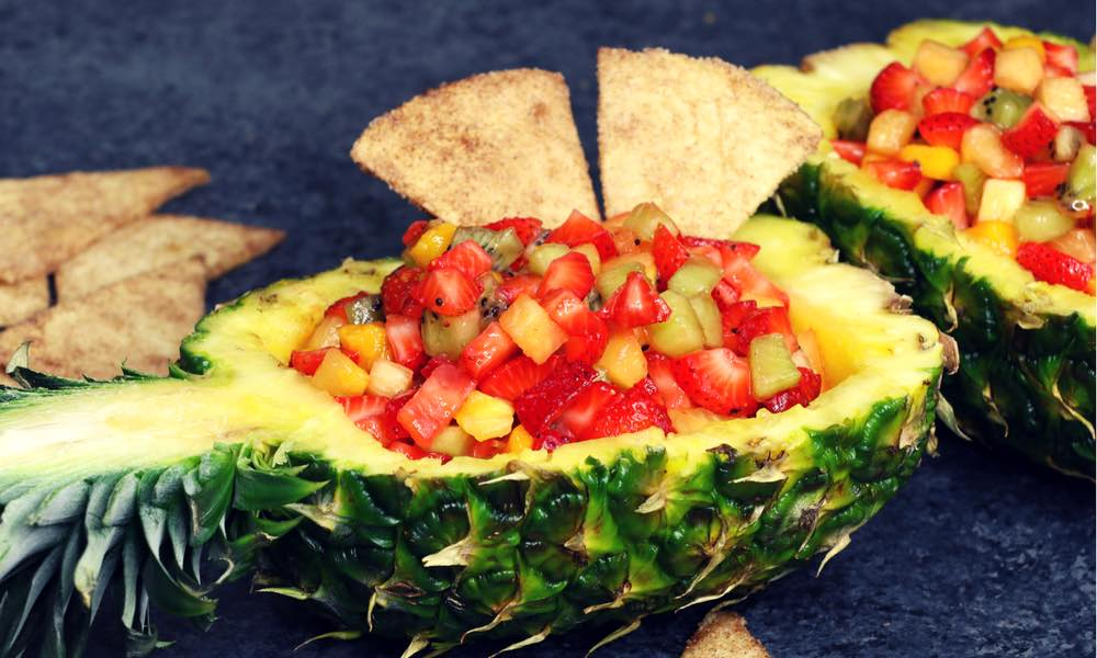 Easy Fruit Salsa In Pineapple Boats With Cinnamon Chips