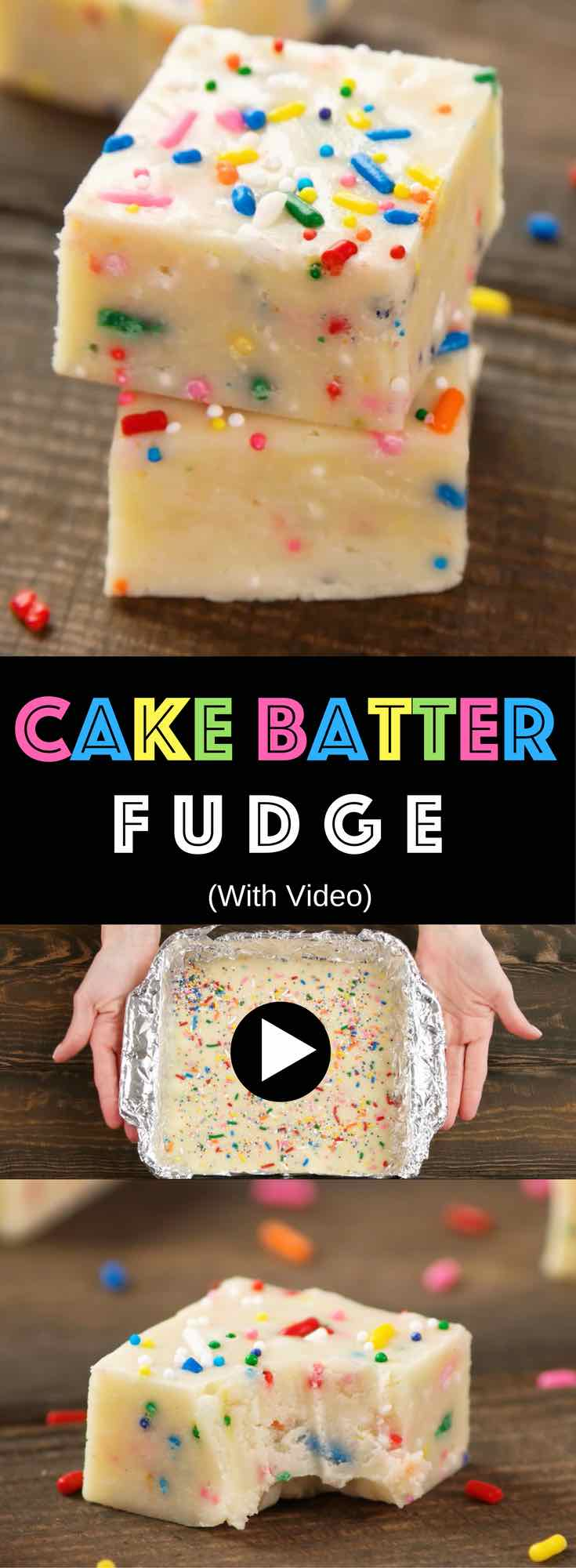 Easy Cake Batter Fudge - Creamy and chocolaty, sweet and soft, with colorful sprinkles. All you need is a few simple ingredients: Cake mix, butter, white chocolate chips, condensed milk, vanilla extract and sprinkles! So Good! Home made gift recipes. Easy recipes for birthday or Mother's Day. Vegetarian. Video recipe. | tipbuzz.com
