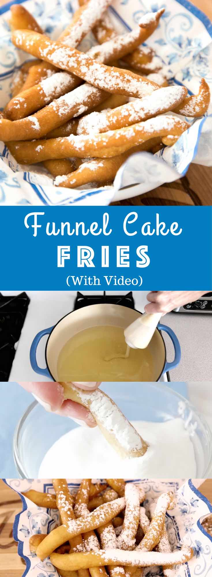 Funnel Cake Fries are golden on the outside and fluffy inside. Skip the State Fair and make these funnel fries for a party and dip them in caramel sauce or marshmallow fluff. Ready in just 20 minutes with no baking required #funnelcakefries #funnelfries
