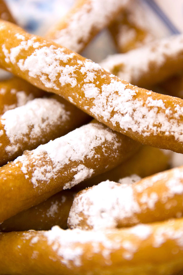 Closeup of funnel fries made with funnel cake batter for a crispy state fair inspired treat
