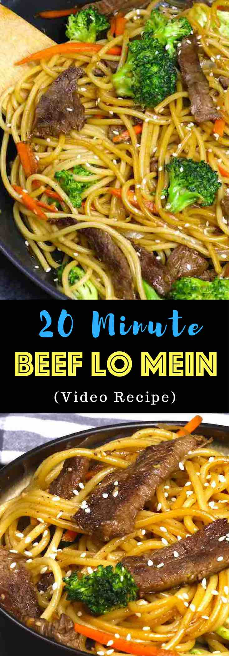 This Garlic Beef Lo Mein is a quick and easy version of classic Chinese dish. It's so much better than takeout and seriously addictive with tangy garlic and soy sauce flavors, the perfect weeknight dinner idea you can make in 20 minutes! All you need is only a few ingredients: flank steak, lo mein noodles, garlic, carrots, broccoli, sesame oil, soy sauce, hoisin sauce, ginger and brown sugar. One of the best easy Chinese dinner ideas! Quick and easy dinner recipe. Video recipe. | Tipbuzz.com