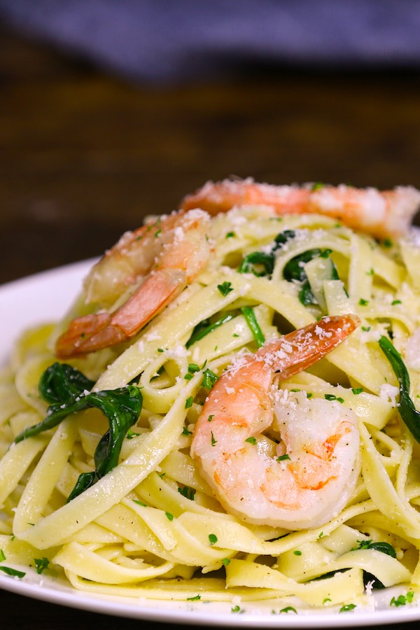 Garlic Butter Shrimp Pasta served on a plate