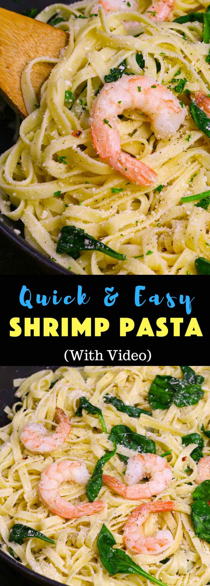 This Garlic Butter Shrimp Pasta is a simple and incredibly delicious one pot meal you can make in under 30 minutes. It's a quick and easy dish that's restaurant quality. Plus recipe video tutorial! #ShrimpPasta