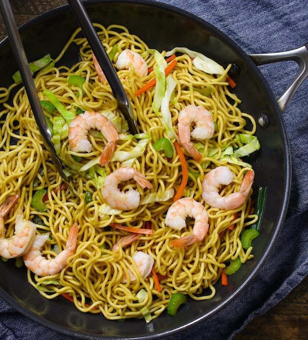 Shrimp Lo Mein in a skillet ready to be served