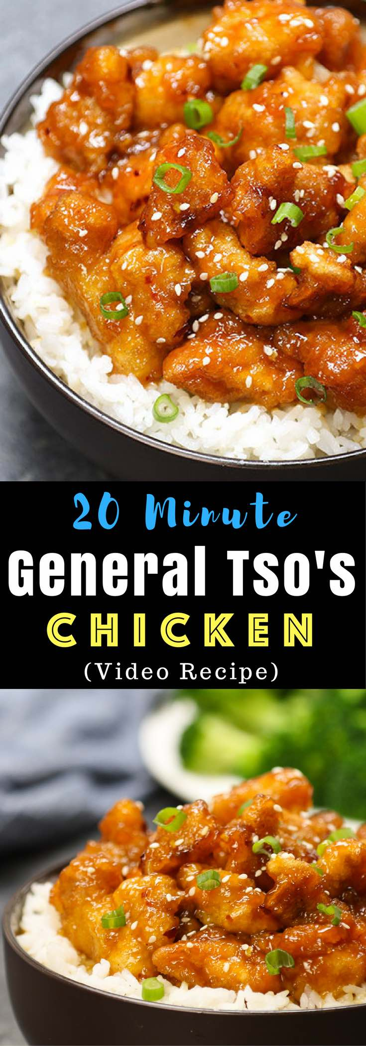 Better than take-out General Tso's Chicken for the perfect easy weeknight dish- crispy, tender and sweet! It will be on your dinner table in 20 minutes. All you need is just a few simple ingredients: chicken breast, corn starch, garlic, ginger hoisin sauce, soy sauce, rice vinegar and sugar. So delicious! Easy dinner recipe. Video recipe. #GeneralTsoChicken #EasyChickenRecipe | Tipbuzz.com