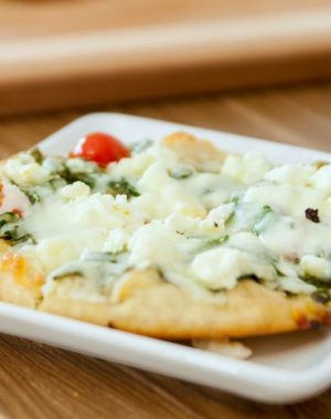 Pita Pizza is a vegetarian lunch or dinner idea that's quick and easy to prepare.
