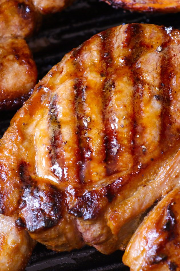 Delicious, never-dry juicy and flavorful Grilled Pork Chops are marinated and then grilled to perfect golden brown. Perfect for backyard BBQ.