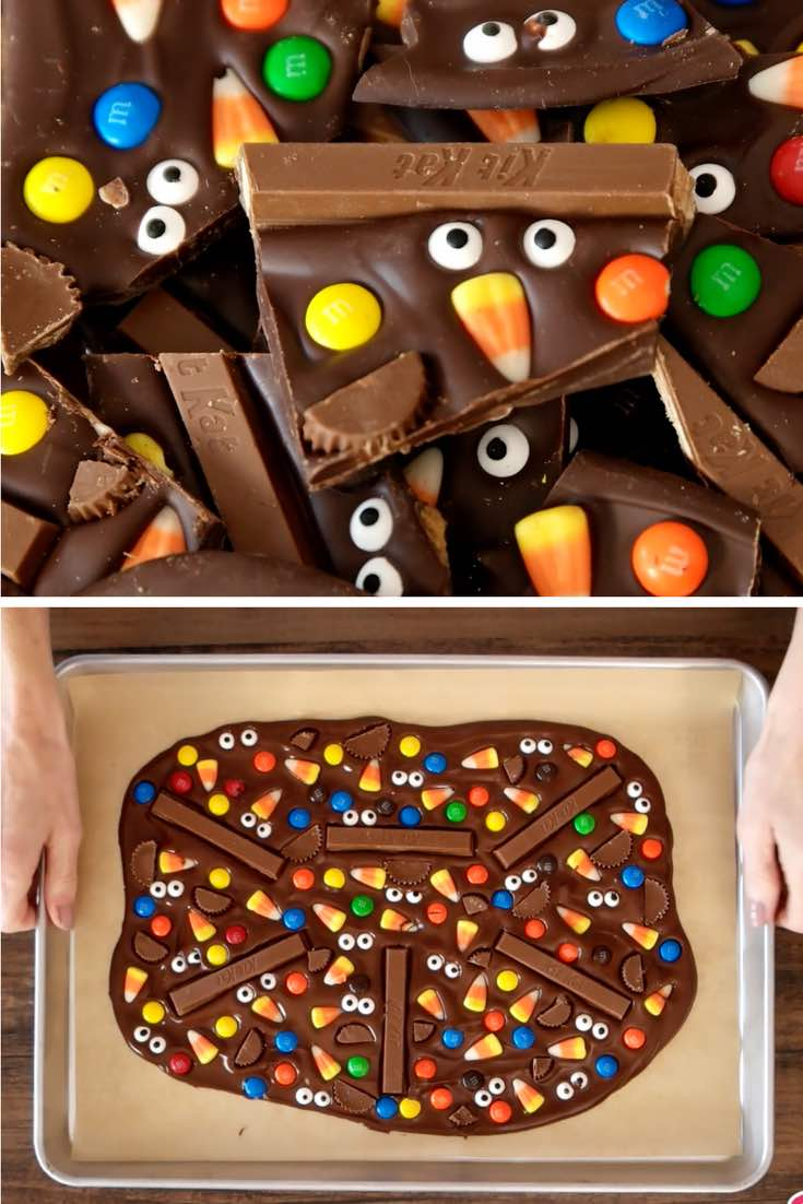 This photo shows pieces of Halloween Chocolate Bark made with dark chocolate, candy and candy eyeballs