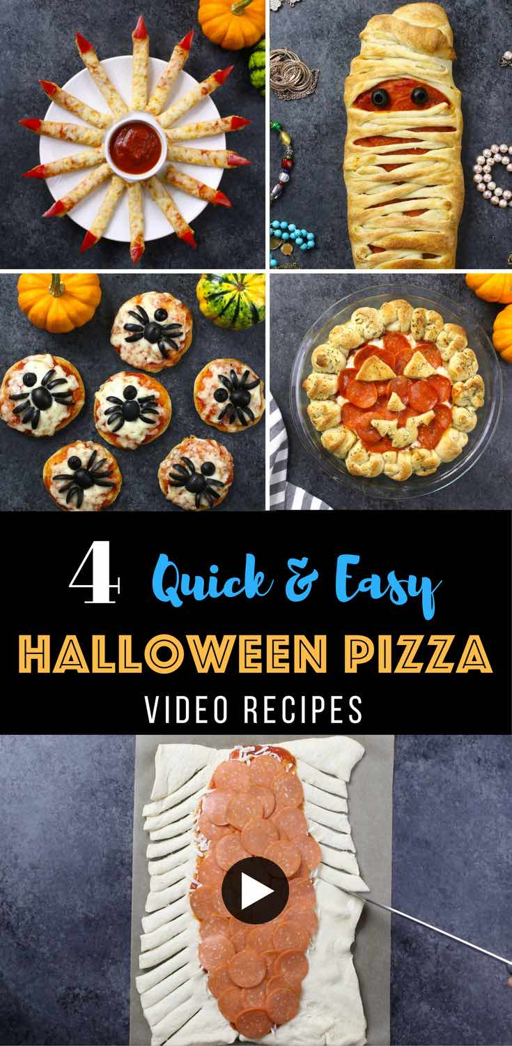 These Halloween pizza recipes are delicious and spooky, perfect for a party appetizer or dinner idea! You can make them in 30 minutes or less using just a few simple ingredients. #halloween #pizza