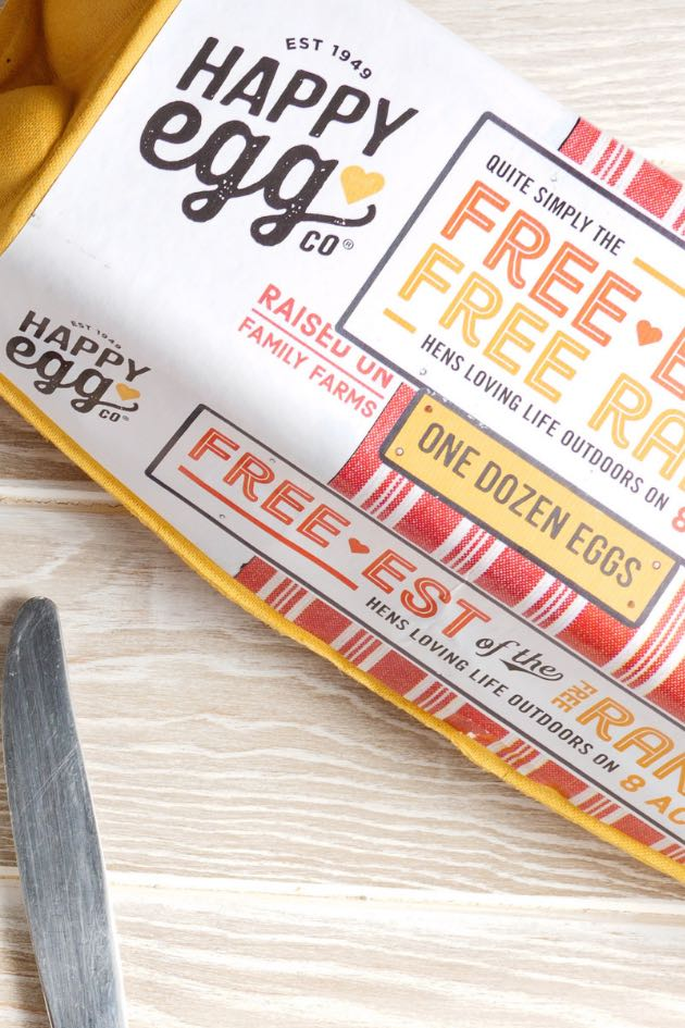 A package of one dozen free range eggs from Happy Egg Co