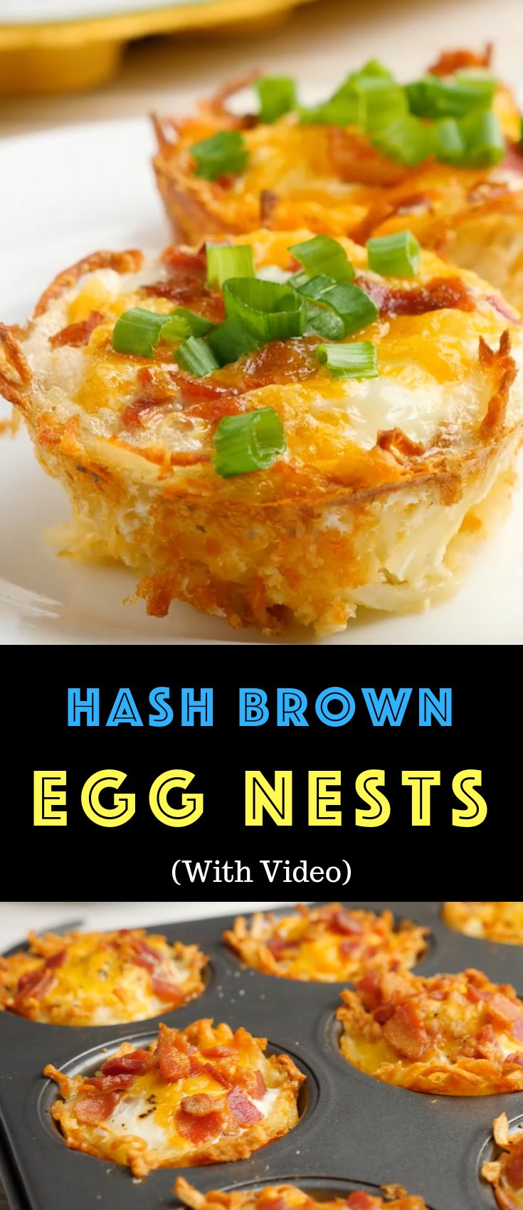 Hash Brown Egg Nests are a delicious breakfast or brunch idea you can make ahead. They're soft on the inside, and crispy golden on the outside. They're great for a quick weekday breakfast, and also perfect for feeding a crowd. Plus, video tutorial!