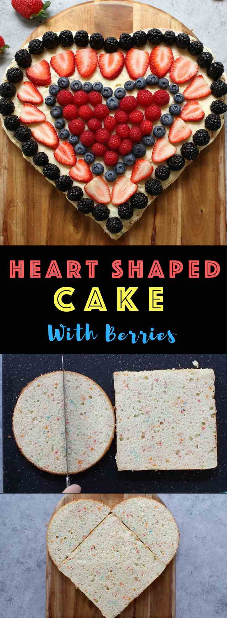 Super Easy Heart Shaped Cake– made using a square and round pan, easiest trick ever! One square cake and one round cake magically turn into a beautiful heart-shaped cake, with only a few ingredients: cake mix, icing and your favorite berries. Great for birthday parties, Valentine's Day or Mother's Day! Party food, party dessert recipes. Video recipe