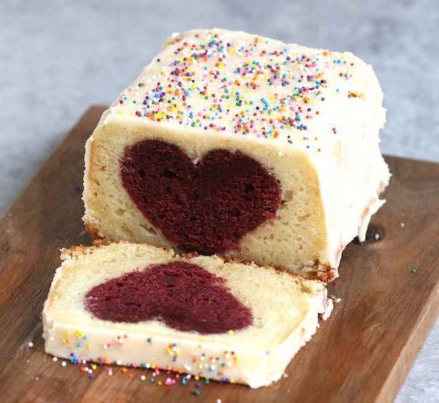Heart inside cake with red velvet cake on the inside and white cake outside