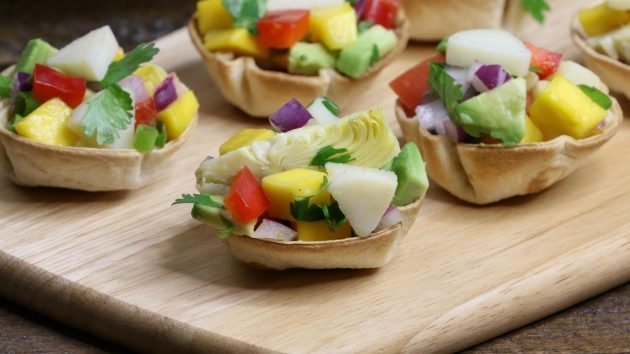 These vegan ceviche cups are made with heart of palm and are the perfect bite size appetizer for a party