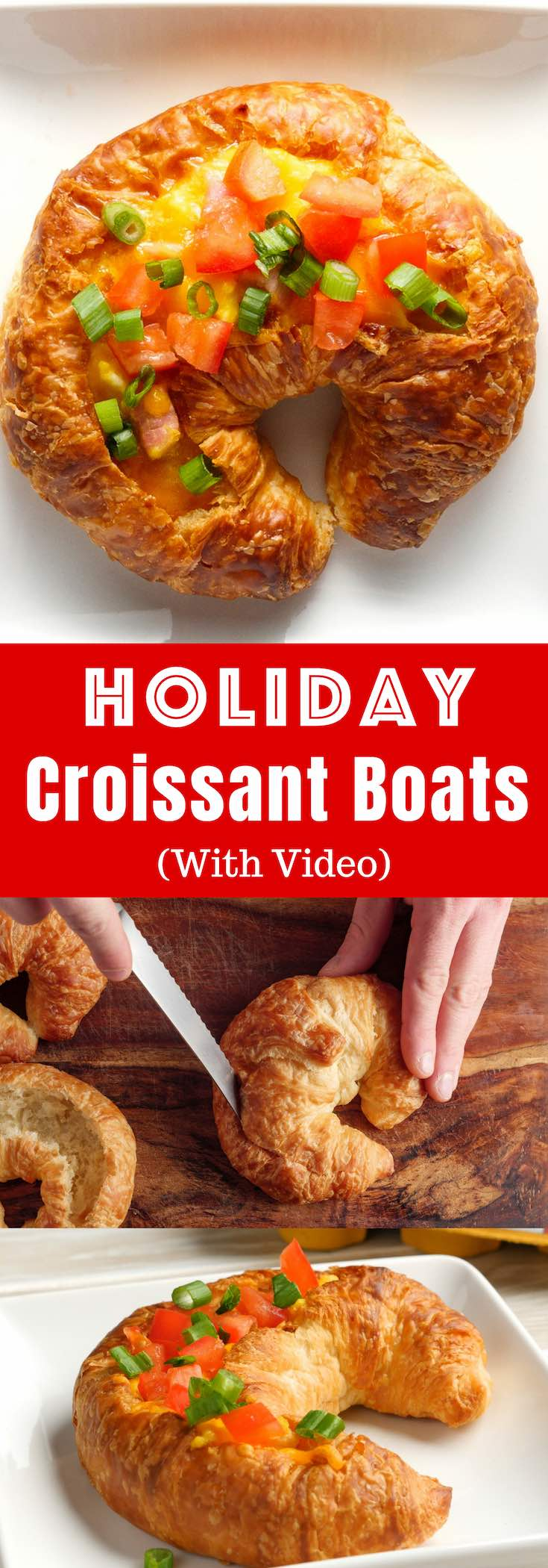 Holiday Croissant Boats are a fun and easy breakfast or brunch recipe that everyone will love, featuring fluffy omelet with ham and cheese baked inside of a flaky croissant. So delicious! Video recipe. @Happyeggcousa #HappyHenHappyEgg #FreeestFreeRange #AD
