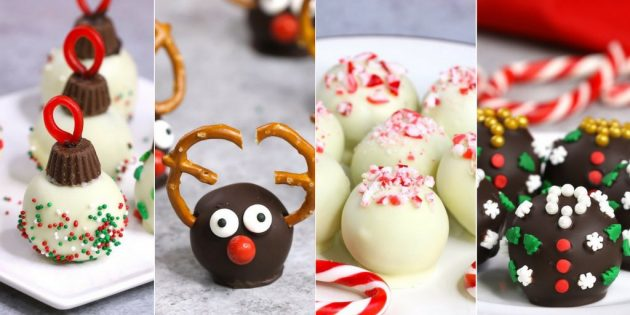 Holiday Oreo Truffles - fun variations on classic oreo truffles to make for the holidays including Ornament Oreo Truffles, Reindeer Oreo Truffles, Peppermint Oreo Truffles and Ugly Sweater Oreo Truffles