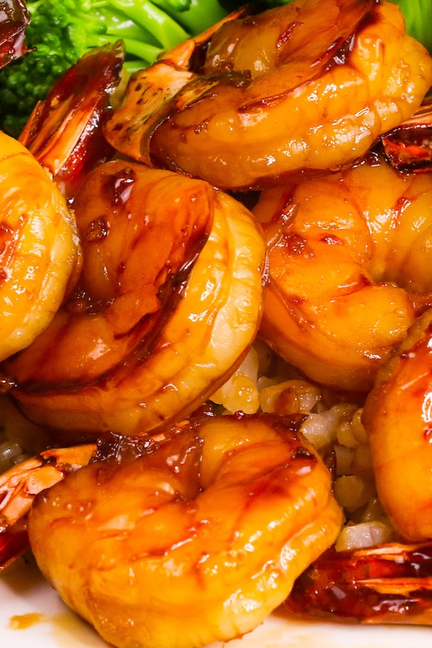 Closeup of jumbo shrimp glazed with a honey garlic sauce